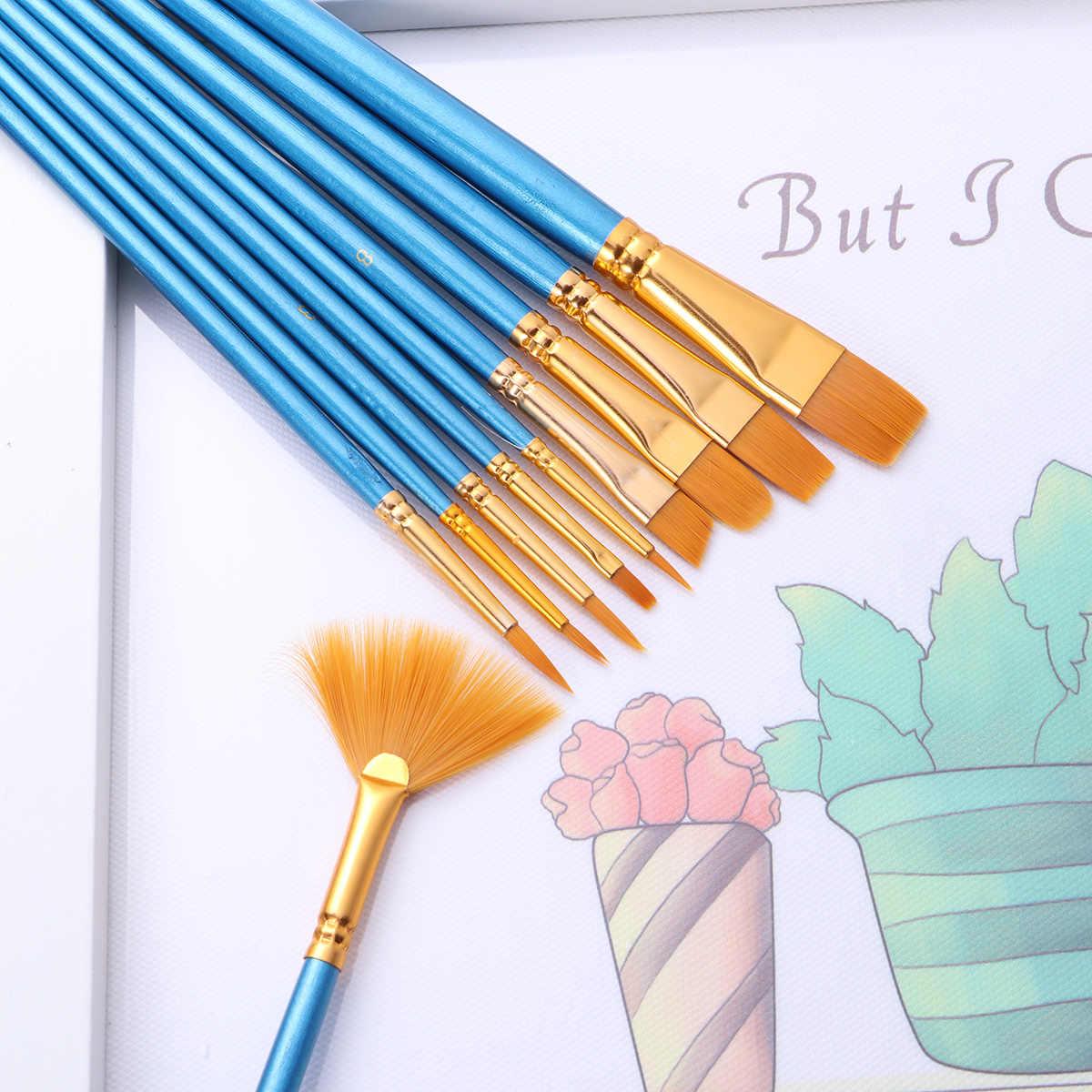 10 Buah Kuas Cat Air Guas Kuas Cat Art Set Untuk Akrilik/Minyak/Lukisan Cat Air Nilon Wol Biru bar