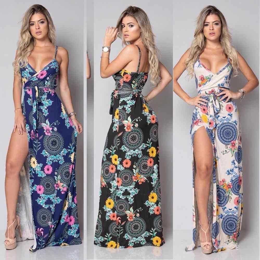 Taniafa Vrouwen Mode Diepe V-hals Hemdje Lange Strand Jurken Zomer Bloemenprint Sexy Backless Party Dress Bohemian