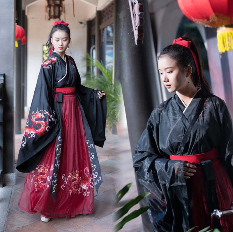 Women Hanfu Chinese Vintage Hanfu Black Dress Deluxe Famale Carnival Cosplay Princess Costume Fancy Dress For Women Plus Size