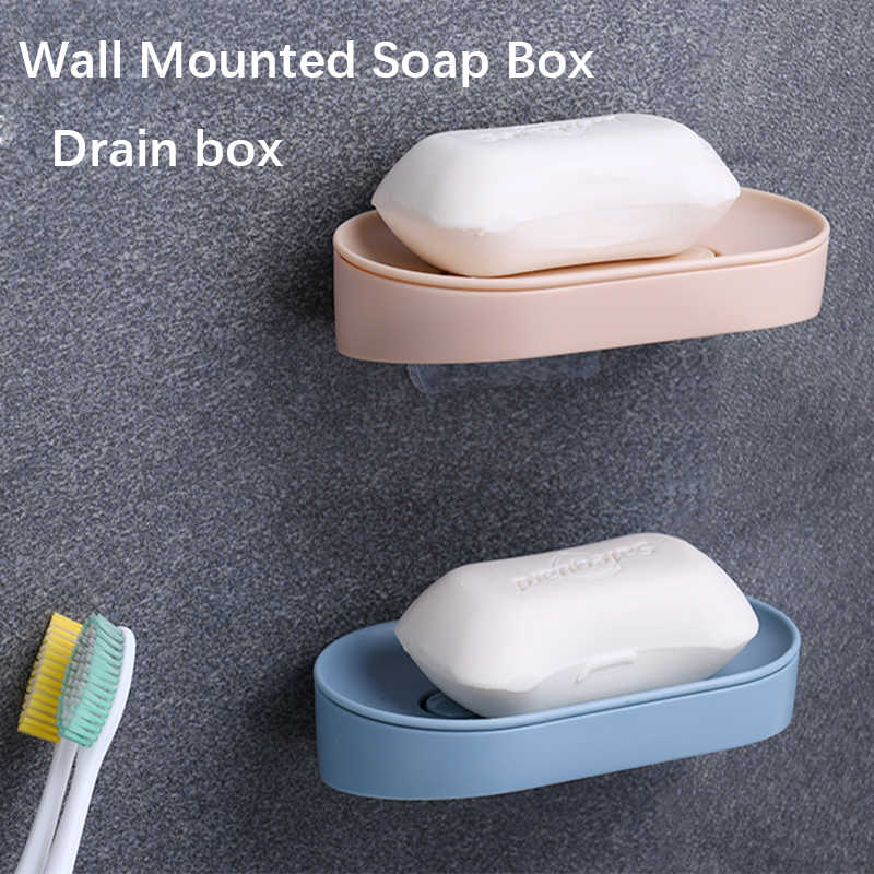 Self Adhesive Soap Tray Soap Rack Wall Hanging Punch-fre Soap Box Dish Holder