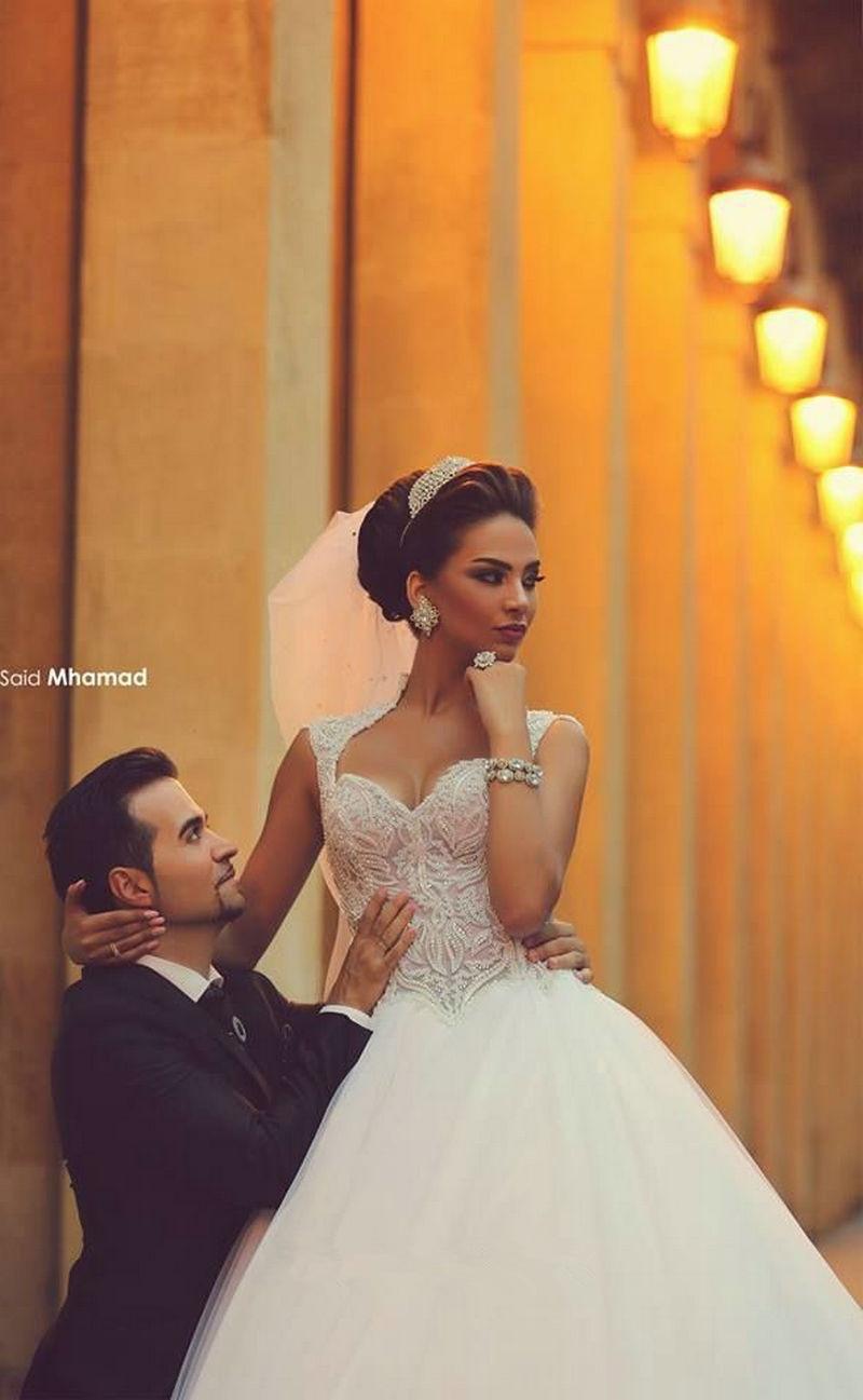 2016 Vestido De Noiva Casamento Princesa Beautiful Sweetheart Appliqued Said Mhamad Wedding Dresses Bridal Wedding Gowns