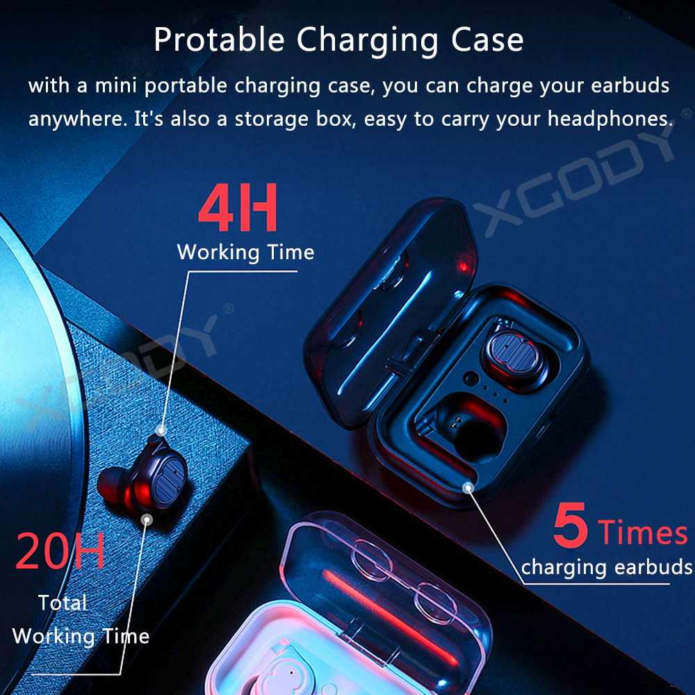 Xgody Touch Design Earphone Bluetooth 5.0 Large Capacity Charging Box Talk Phone With Hifi Bass And Stereo TWS Earbuds