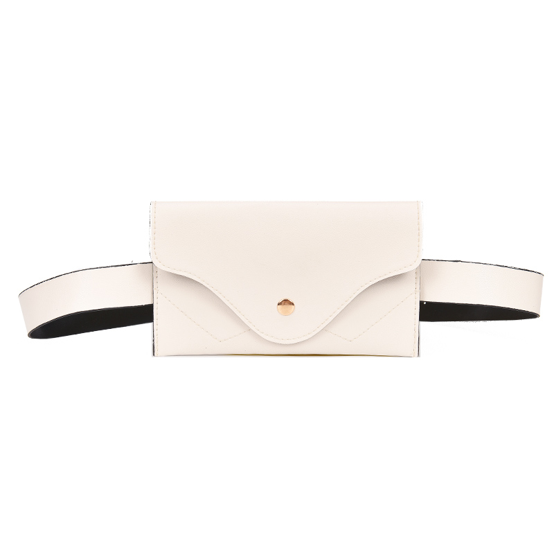 Fashion Women Waist Bag PU Leather Belt Bag Pure Color Pack For Women Female Vintage Waist Pouch Purse Phone Pouch White