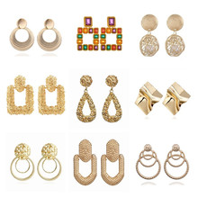 F31 Metal Multicolored Drop Dangle Earrings For Women Geometric Wedding Party Vintage Earring Female Bohemian Bijoux