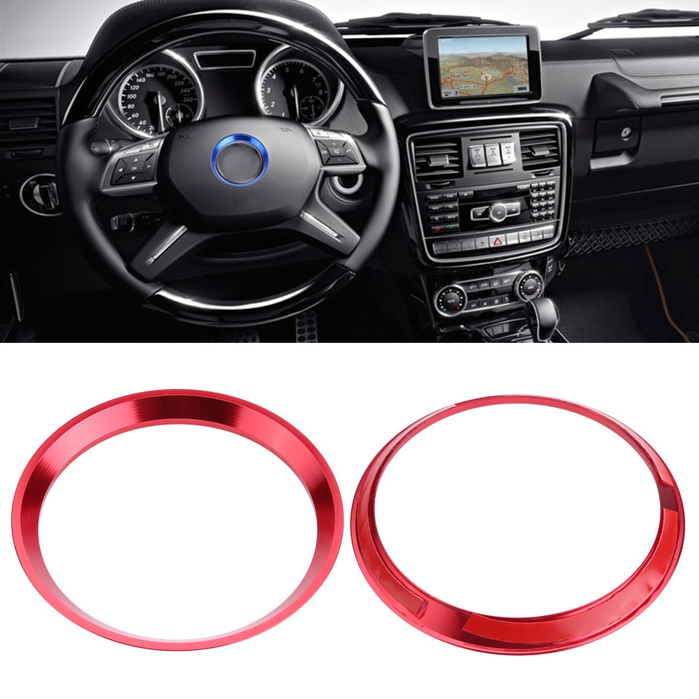 Free Shipping Aluminum Alloy Red Car Steering Wheel Ring Cover Trim For Mercedes Benz CLA GLK A Class W204 W246 W176 W117