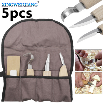 5pcs/set DIY Art Craft Carving Tools Hand Chisel Hook Knife Stainless Steel Woodworking Spoon Sculptural + Whetstone 1pc