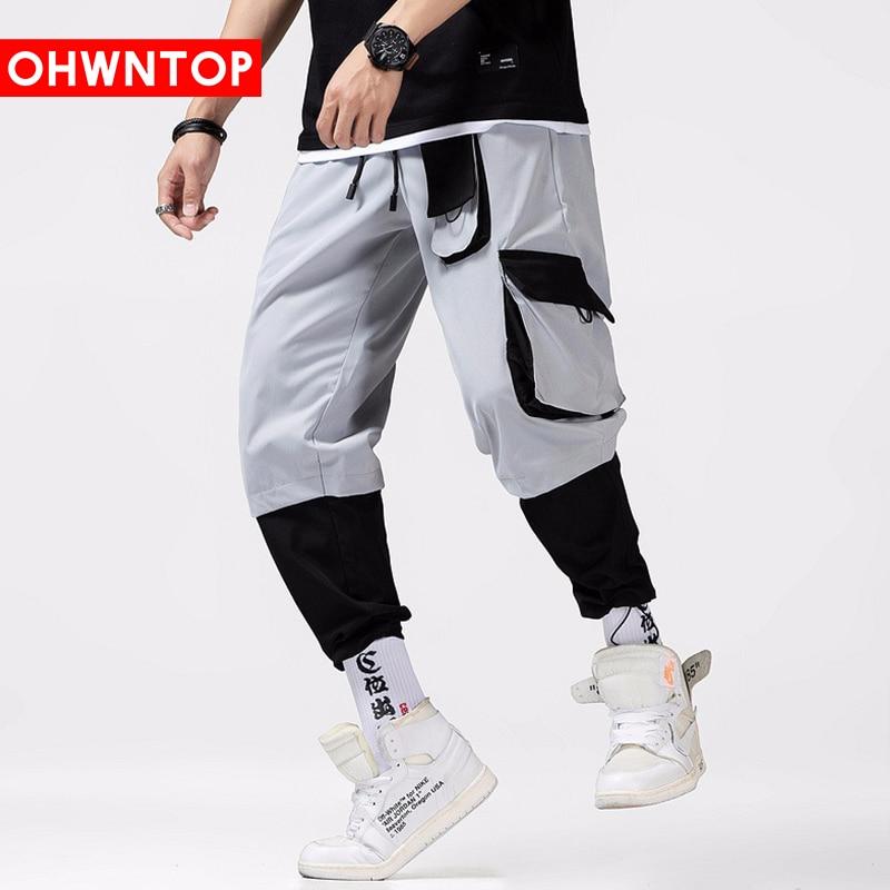 Multi Pockets Color Block Patchwork Cargo Harem Jogger Pants Men Hip Hop Fashion Casual Track Trousers Streetwear Sweatpants Men