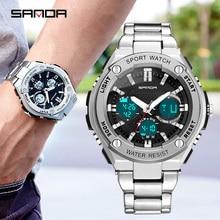 Business Watch Men Luxury Steel Belt Sport Waterproof Multi-function Digital Gold/Silver Big Dial Wristwatch