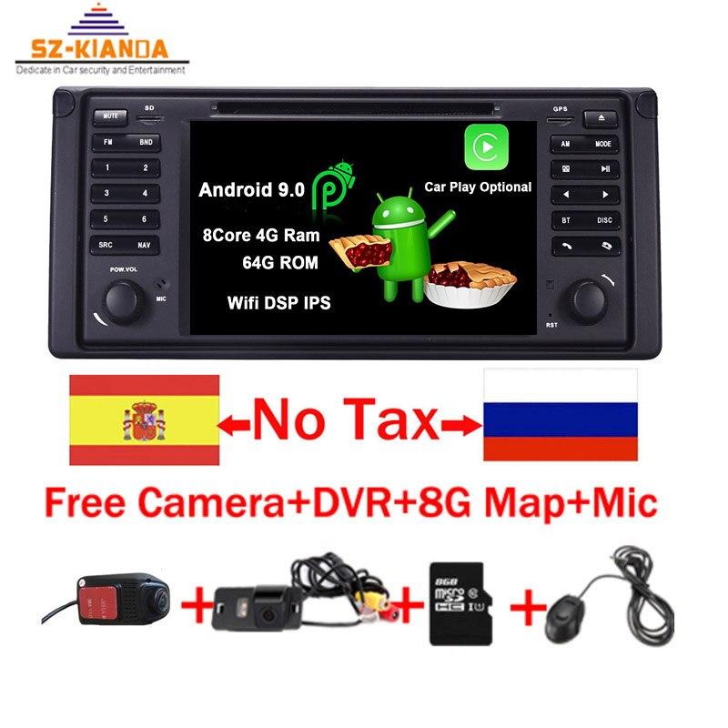 Android 9.0 Quad Core GPS Navigation 7 lecteur DVD de voiture pour BMW E39 série 5/M5 1997-2003 Wifi 3G Bluetooth DVR RDS USB Canbus