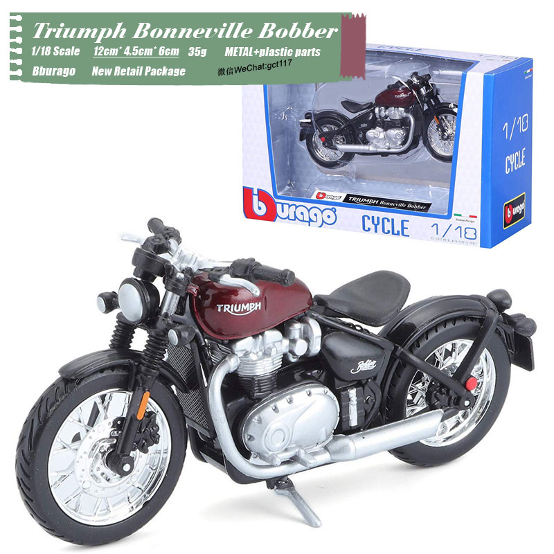 RD 1/18 Scale Motorbike Model Toys Triumph Bonneville Bobber Diecast Metal Motorcycle Model Toy For Gift,Kids,Collection