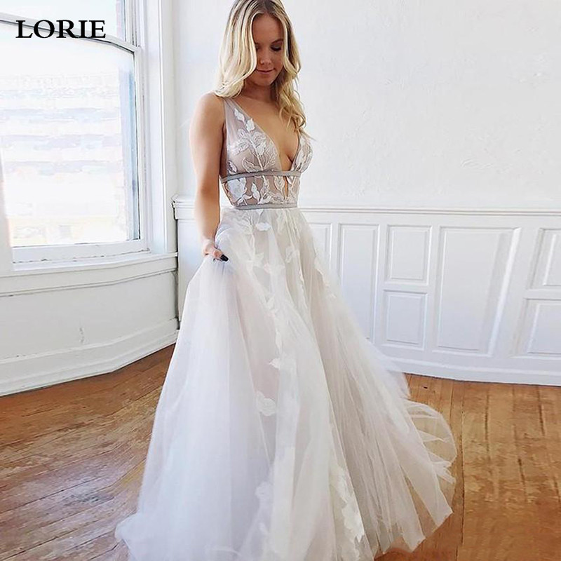 LORIE Princess Wedding Dress Sexy V-neck Boho Wedding Bride Gowns Puff Tulle Floor Length Wedding Gowns Vestido Novia