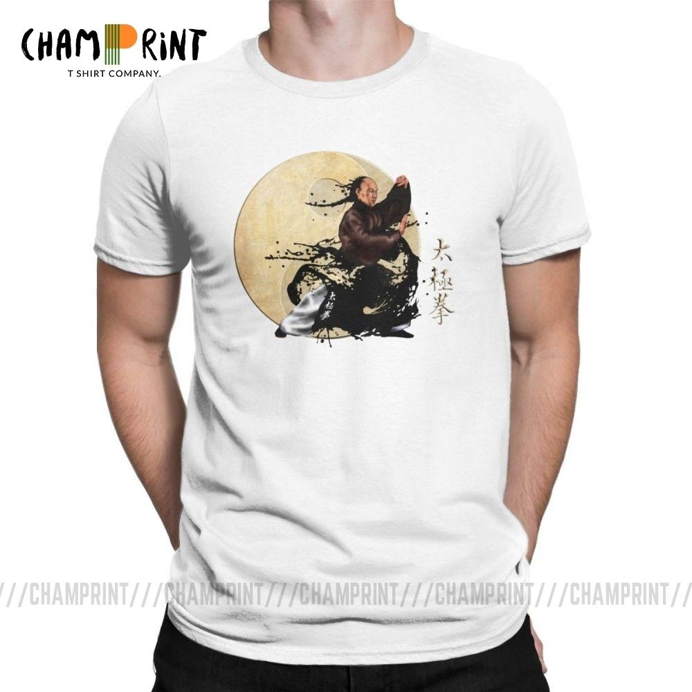 Забавные футболки Tai Chi Chuan и символ Инь и Янь для мужчин с круглым вырезом 100% хлопок футболка короткий рукав Летняя футболка Топы