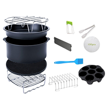 12pcs 8 Inch Air Fryer Accessories Fit for 4.2QT-6.8QT Deep Fryer BPA Free Baking Pan Silicone Mat Oil Brush