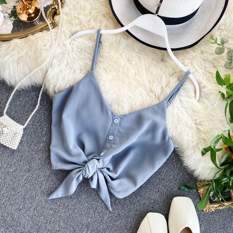 2020 Summer Women's Bowtie Vest Tank Crop Tops Buttons Sweet Short Camisole Longerie Girls Spaghetti Chiffon Soft Femme Veste 3