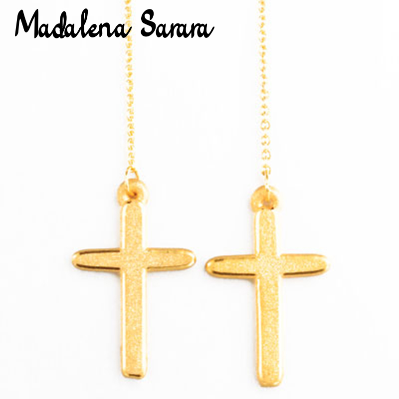 MADALENA SARARA Pure 24k Gold Earrings Simple Cross Dangle Women Earrings AU999