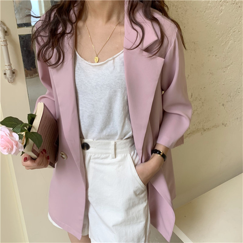 HziriP Solid High Quality Summer Minimalist OL Tops All Match Thin 2020 Feminine Coats Brief Loose Tops Office Lady Blazers