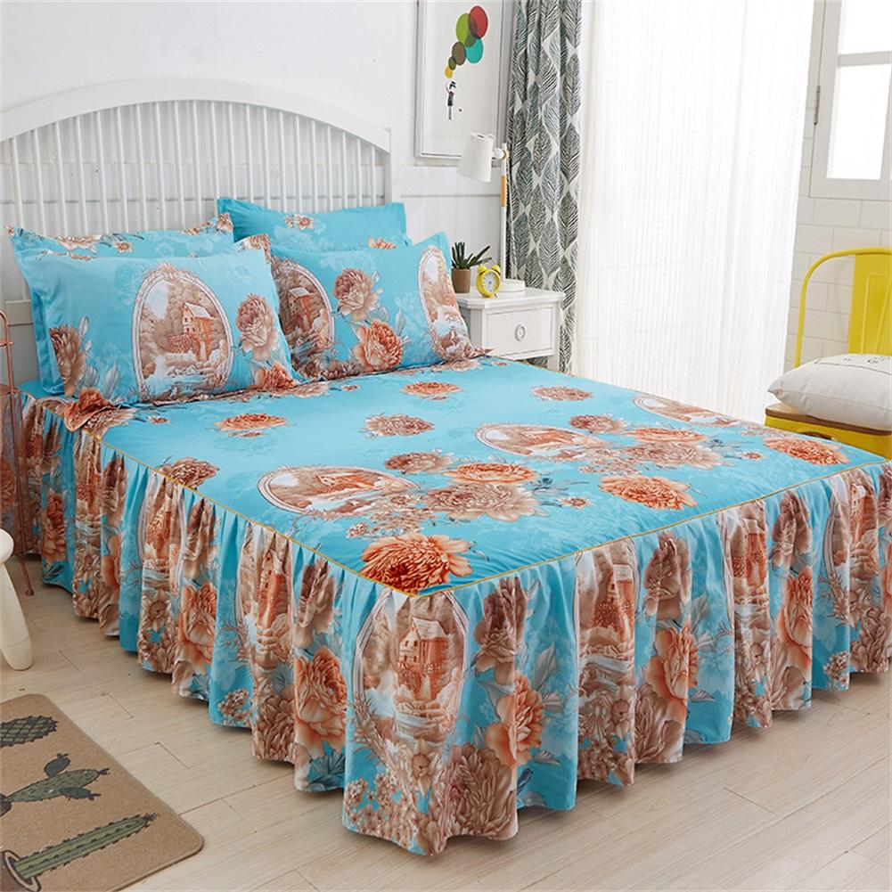 3PCS 1.5*2M Floral Fitted Sheet Cover Graceful Bedspread Skin Friendly Cotton Bed Cover Bedding Supplies