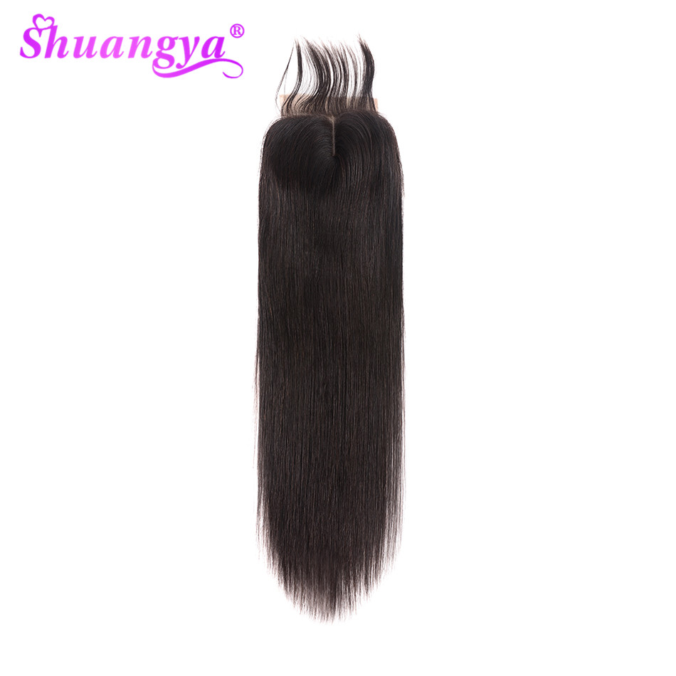 Shuangya Hair Brazilian Straight Hair Closure 4x4/5x5 Lace Closure Remy Human Hair Closure Natural Color 8-20 Inch Closure