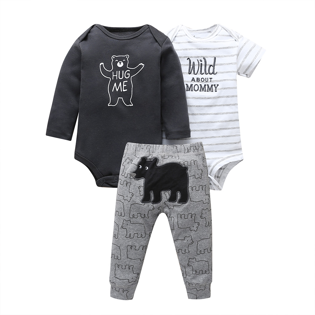 Baby Boy Clothes Set Long Sleeve Romper+pant Cartoon Bear+letter Print Winter Newborn Infant Clothing Fall New Born Girl Outfit