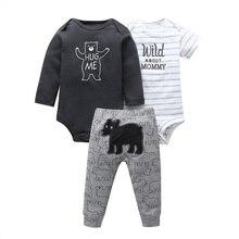 Комплект одежды для маленьких мальчиков, комбинезон с длинными рукавами+ штаны с рисунком медведя+ зимняя одежда для новорожденных с буквенным принтом осенняя одежда для новорожденных девочек