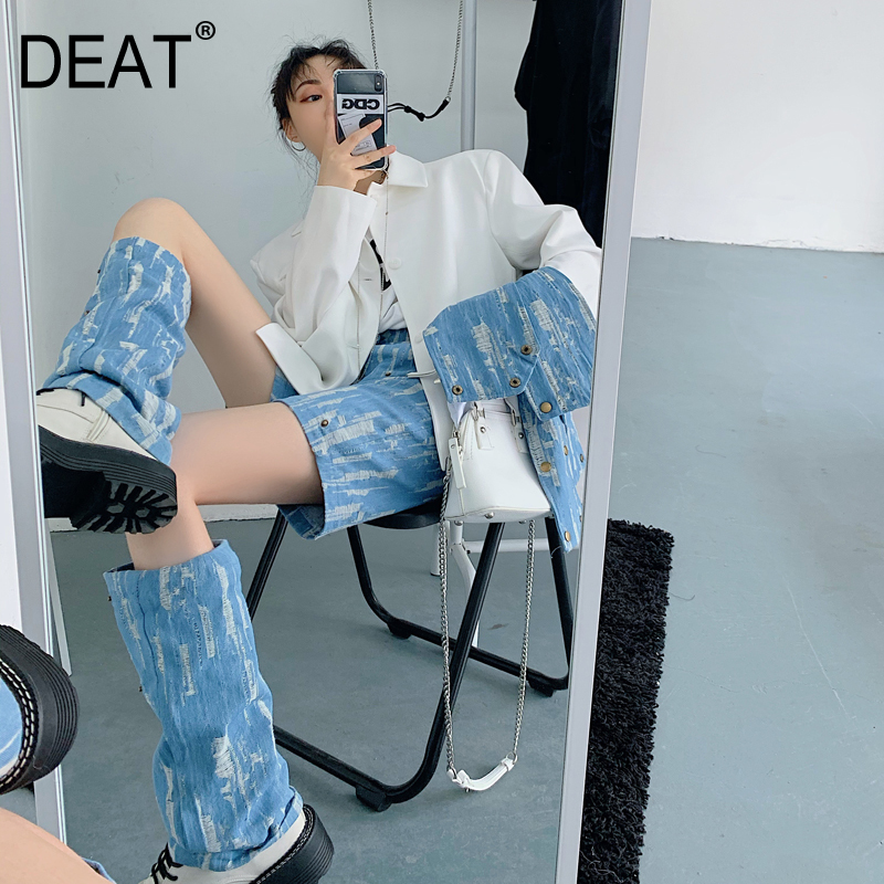 DEAT Women Fashion Design Summer Clothing Jeans Female Two Parts Patchwork Printed Denim Cargo Trouers WL96801