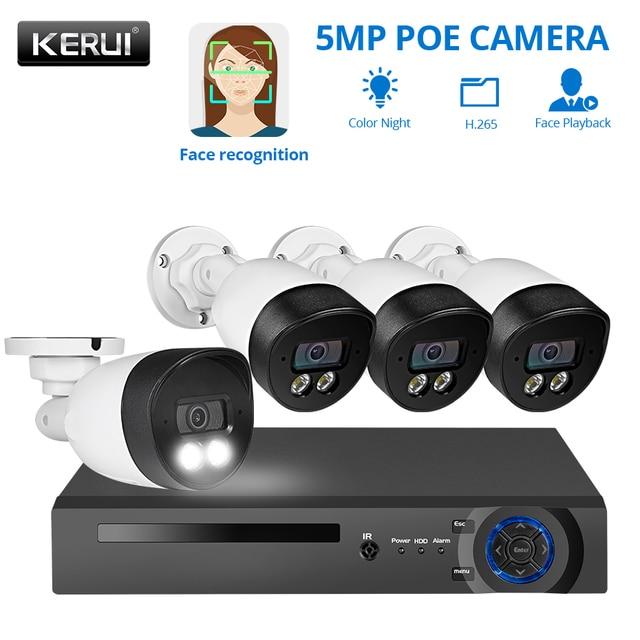 KERUI H.265 8CH 5MP HD POE NVR Kit système de sécurité CCTV enregistrement facial caméra IP extérieure étanche caméra de Surveillance vidéo
