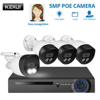 KERUI H.265 8CH 5MP HD POE NVR zestaw System bezpieczeństwa CCTV nagrywanie twarzy AI kamera IP zewnętrzna wodoodporna kamera monitorująca wideo