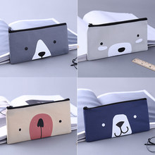 2019 Cute Cat Cartoon Pencil Canvas Creative Large Zipper Simple Vintage Case Print beauty bag High Quality Capacity Pencil Bag(China)