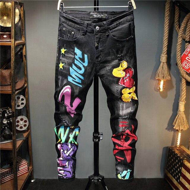 Pantalones vaqueros con Graffiti para hombre, pantalón informal de otoño, microelástico, estampado, a la moda, con personalidad 1