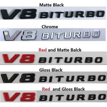 Para Mercedes Benz E63 C63 CLS63 GLE63 S63 G63 GL63 S63L SL63 GLS63 GLC63 S AMG V8 BITURBO Fender emblemas insignias emblema adhesivo