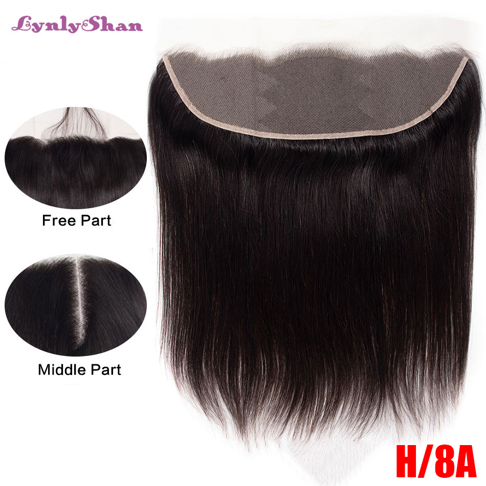 Lynlyshan Malaysian 8A Pre Plucked 13x6 Medium Brown 150% Destiny Hair Extensions Human Hair Swiss Lace Frontal Closure image