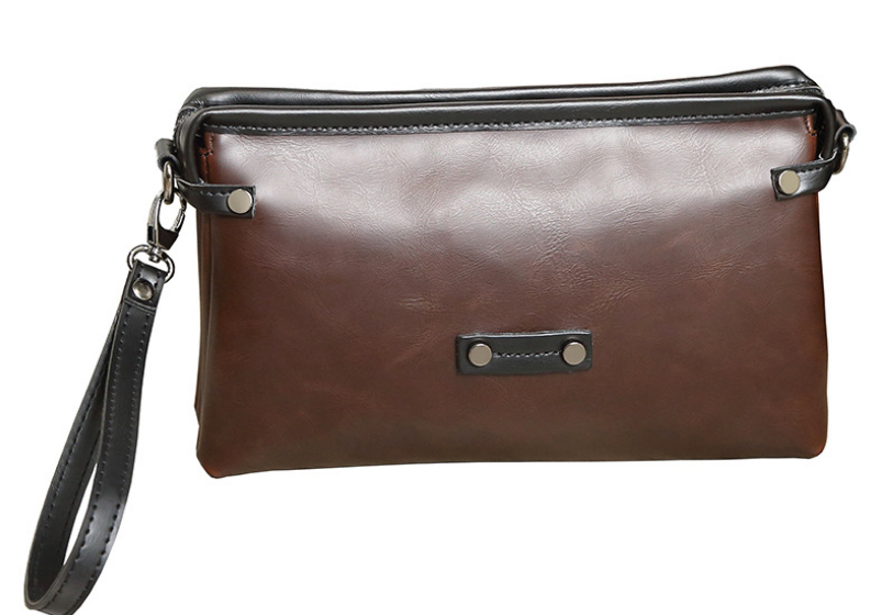 New Envelope Mini Briefcase Mature Men Vintage Office Clutch Bag Multi Function Mens Chic Leather Bags Bolso Hombre DF272