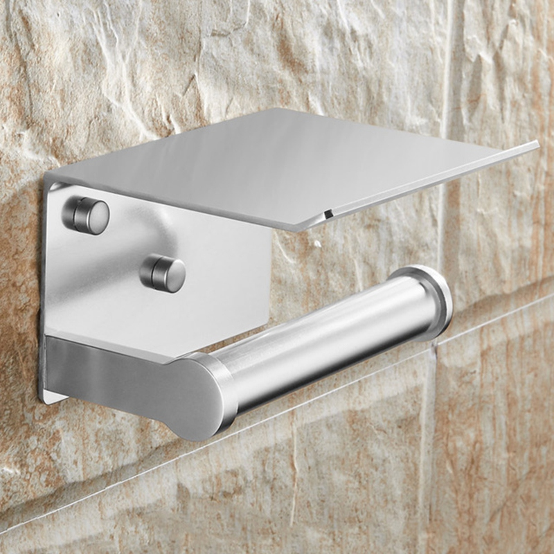 Toilet Paper Holder With Shelf Wall Mounted Mobile Phone Paper Towel Holder Decorative Bathroom Roll Paper Holder Silver