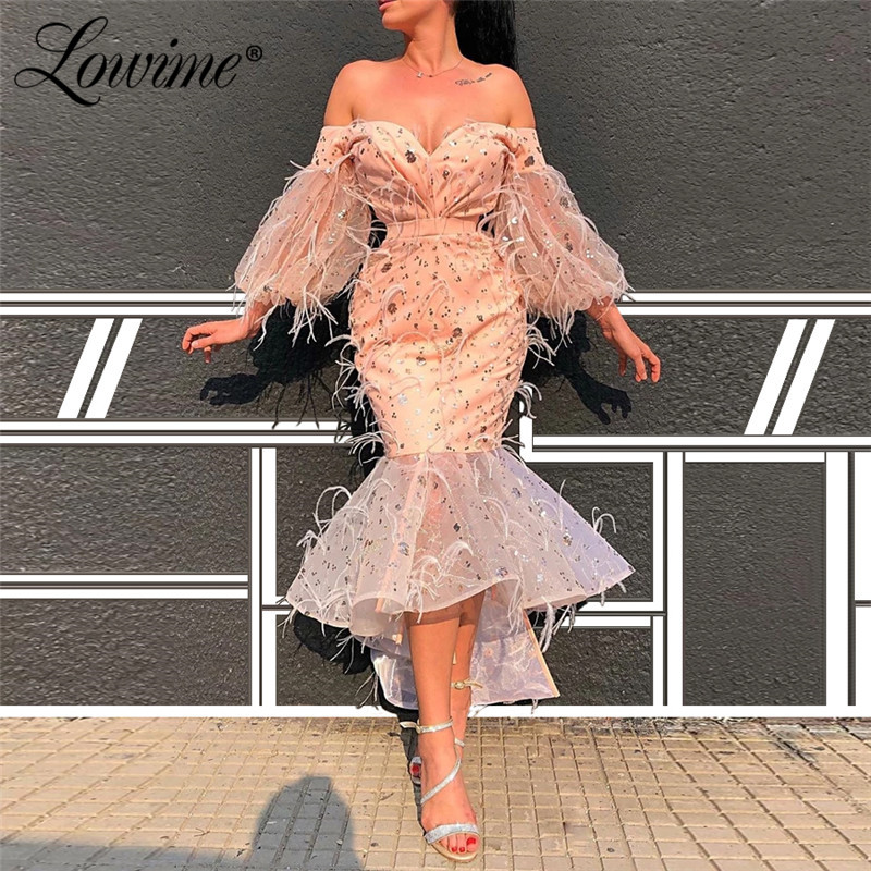Pink Feathers Prom Dresses Robe De Soiree Arabic Dubai Tea Length Party Gown 2020 Short Mermaid Evening Dress Aibye Pageant Gown