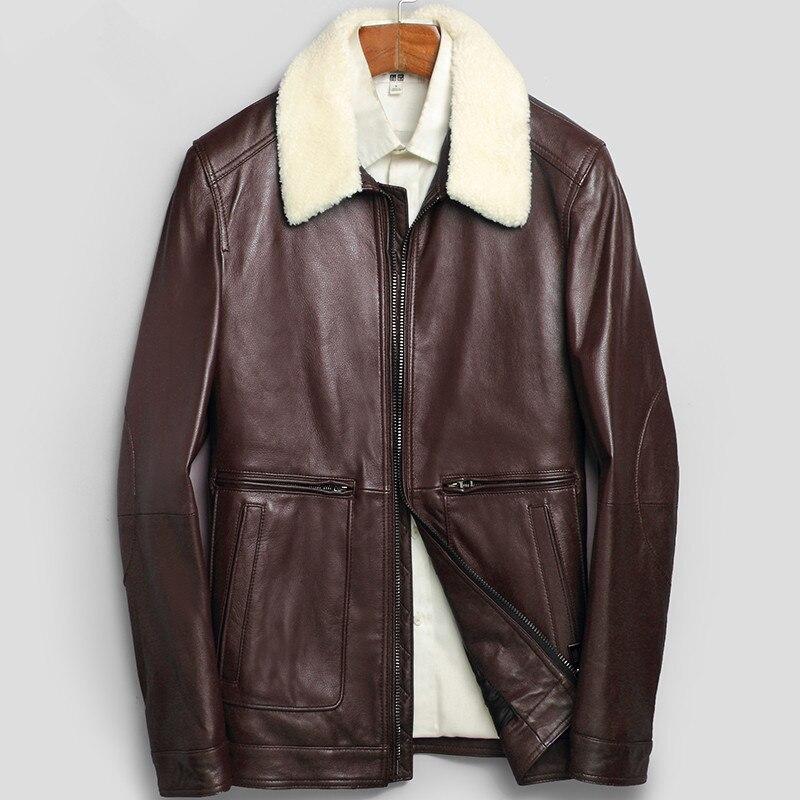 Genuine Leather Jacket Autumn Winter Jacket Men Lamb Fur Collar Short Jackets Mens Sheepskin Coat LSY080125 MY1367