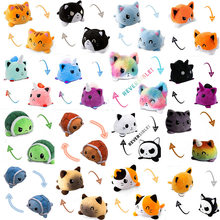 Peluche engraçado gato reversível gato gato gato crianças plushie animais de pelúcia dupla face flip boneca bonito brinquedos para polvo polvo pulpo reversível