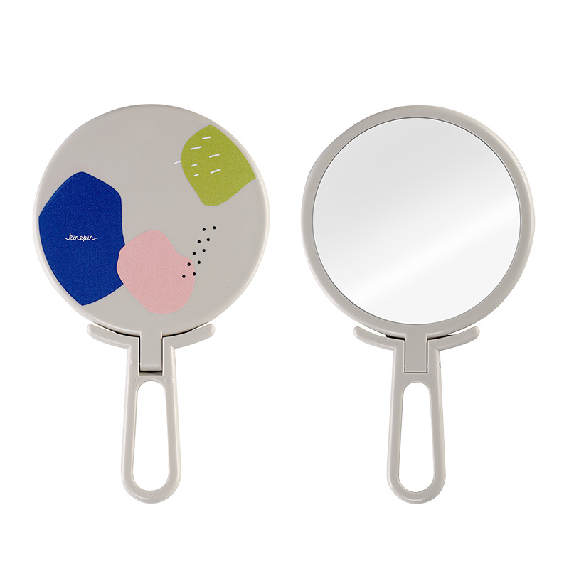 Купить с кэшбэком Colors Pink Blue Black Orange Cute Girl Handy Folding Mirror Exquisite Hand Makeup Mirror Compact Foldable Mirrors
