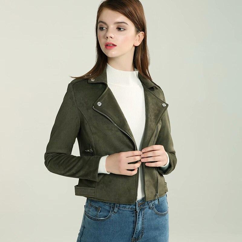 Streetwear Faux   Suede     Leather   Biker Jackets 2019 Autumn Women Long Sleeve Zipper   Suede   Coat Olive green Outfit Female Outwear