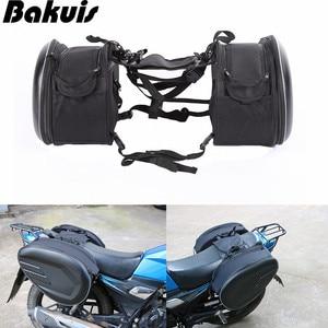 Waterproof Motorcycle Helmet Riding Travel Luggage Bags Motorcycle Saddle Bags Pu Leather Motocross Rear Seat Side Saddle Bag