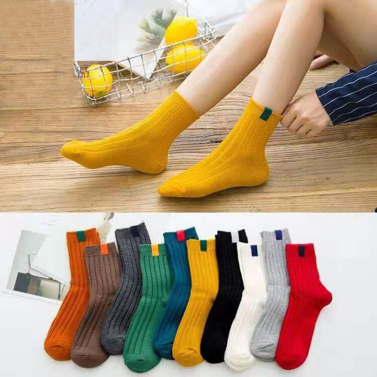 5 Pairs of New High School Girls Socks Solid Color Needle Knitted Striped Cotton Socks Ladies Yellow, Blue and Black and White