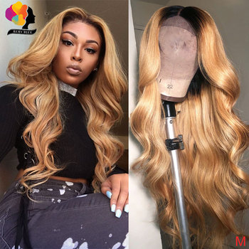 13*4 Honey Blonde Lace Front Wigs 1B/27 Ombre Peruvian Body Wave Lace Front Human Hair Wig Remyblue With Baby Hair Remy 150%