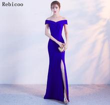 New Elegant  Dress Floor Length Sexy High Slit Formal Cheap Prom Party Gown Robe De Soriee 2019 Arrival