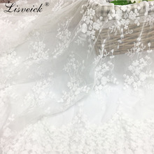 High Quality 1yard Flower mesh embroidery lace fabric clothing skirt wedding dress DIY handmade