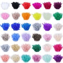 10 metros 32 cores tingidas turquia pena guarnição franja despojado penas largura da fita 10-15cm para vestuário vestido artesanato decoração