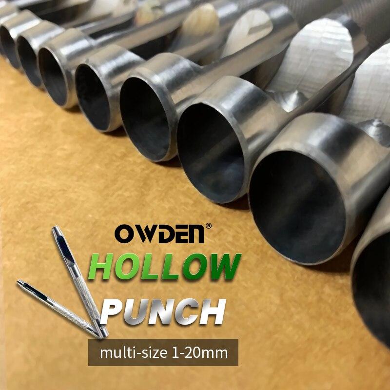 Дырокол для кожи OWDEN 1 мм-20 мм, Набор круглых дыроколов для кожевенного ремесла, инструменты для кожи, дырокол для кожаного ремня