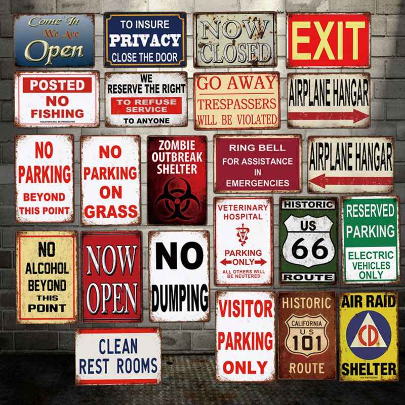 [ WellCraft ] CLEAN Restroom No Acohol dumping Fishing go away zombie Tin Signs Posters Vintage Painting Custom Decor  LT-2000