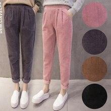 Calças mulheres Rosa Coreano Harem Pants de Cintura Elástica Outono Inverno Calças de Veludo Cotelê Casuais Calças Pretas Plus Size Calças S 5XL