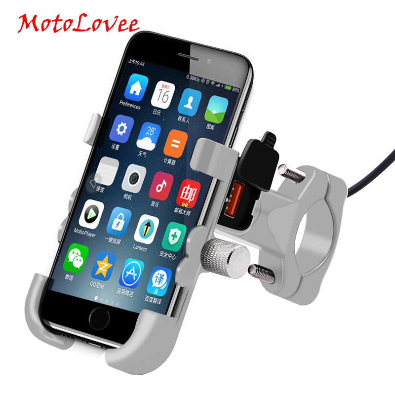MotoLovee Universal Phone Holder QC 3.0 Motorcycle USB Charger Waterproof 12V MotorBike Mobile Phone Mount Power Adapter Mirror