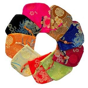 100 pçs presente saco de seda jóias embalagem goodie embalagem malotes drawable sacos presente spice brocado moeda bolsa bordado étnico