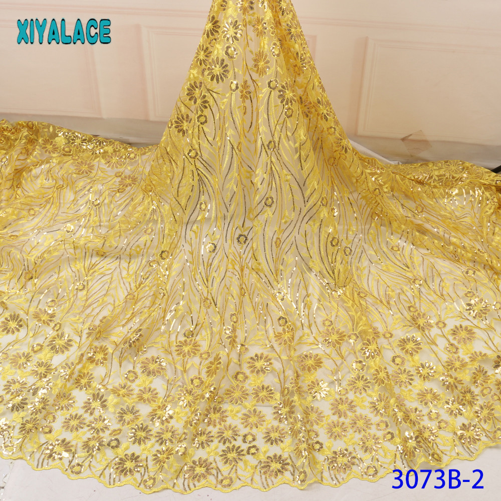 Yellow 2019 African Sequins Tulle Lace Fabric High Quality French Embroidery Lace Net Material Nigeria Lace Fabric KS3073B